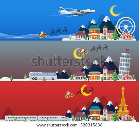 Merry Christmas banners in flat style. Traveling in time of vacation by plane, bus and train. Travel to Britain, Italy and France. The winter holiday. Flat Santa Claus, reindeer. Bitmap Image.