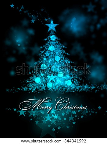 Merry Christmas. Blue background with a christmas tree and Merry Christmas Text - stock photo