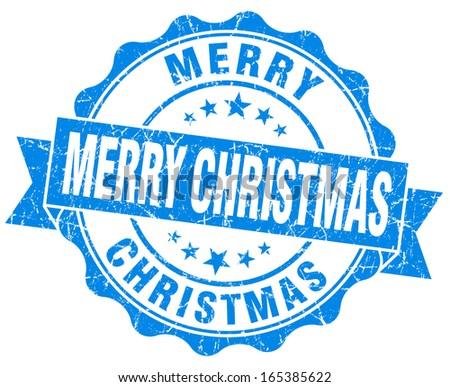 Merry christmas blue grunge stamp - stock photo