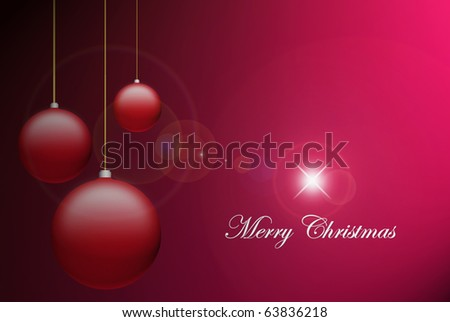 Merry christmas card, balls over red background