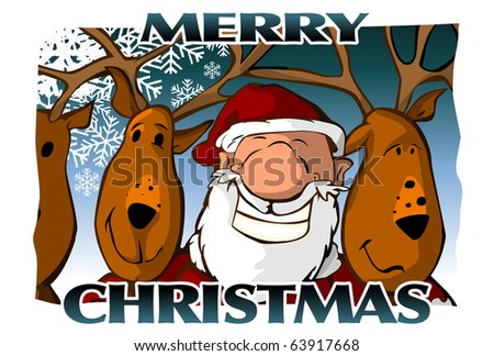 Merry Christmas Card (blue) - stock photo