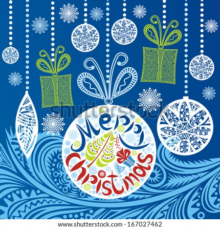 Merry christmas card illustration - stock photo