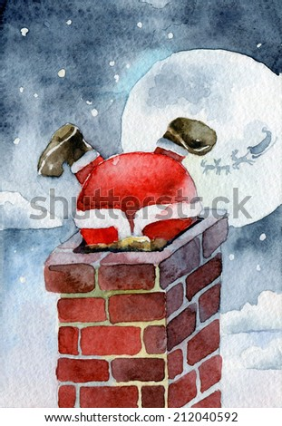 Merry Christmas card. Santa Claus stuck in the chimney. Watercolor illustrations