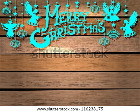 Merry Christmas  card with Angels and decorations in paper cut style with place for text