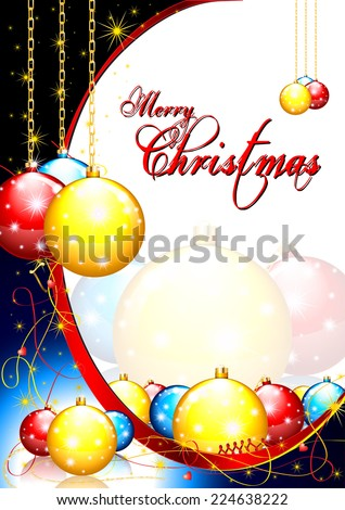 Merry Christmas card with orange, red and blue XMas balls - stock photo
