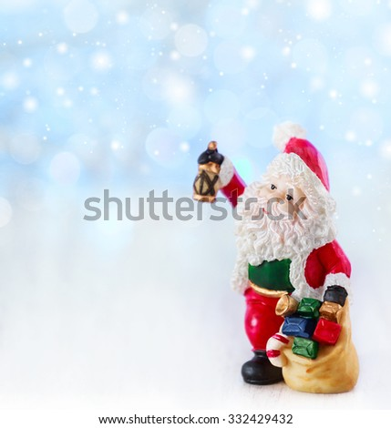 Merry christmas card with Santa Claus and tree. Lights background with space for text. Winter holidays. Xmas theme - stock photo