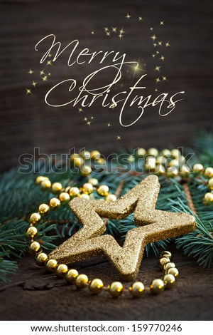 merry christmas card with text  - stock photo