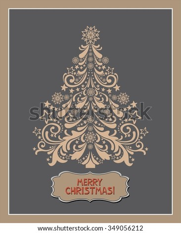 Merry Christmas. Christmas Greeting Card. Celebration Vintage background with Christmas tree and place for your text.  Illustration