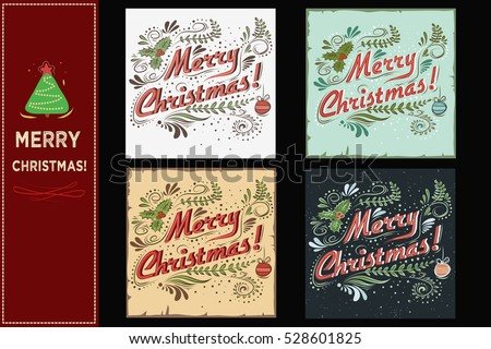merry christmas christmas set holidays cards stock illustration