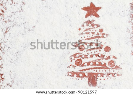 Merry Christmas - Christmas tree of the flour (homemade  baking) - space for text - stock photo