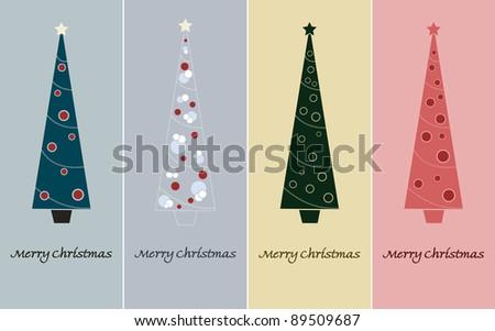 Merry Christmas - Christmas Tree with decoration - stock photo