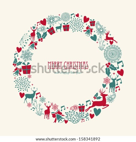 Merry Christmas decoration elements circle mistletoe composition.   - stock photo