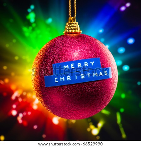 Merry Christmas decoration with colorful fireworks background