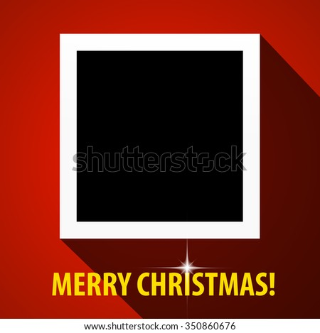 Merry Christmas Flat Design Greeting Card With Blank Photo Frame With Long  Shadow