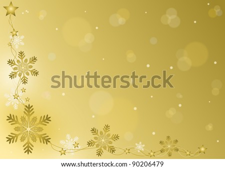 Merry Christmas - gold background with snowflakes - stock photo