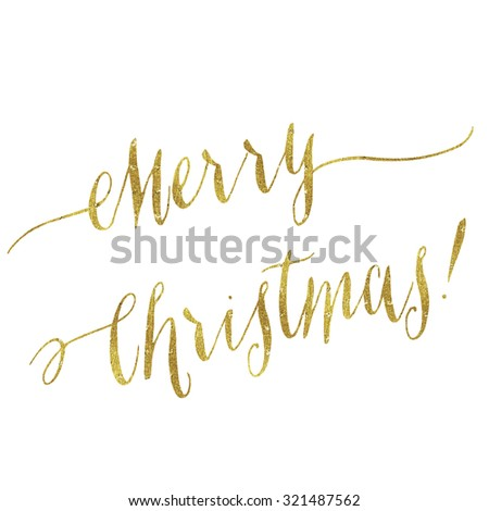 Merry Christmas Gold Faux Foil Metallic Glitter Quote Isolated - stock photo