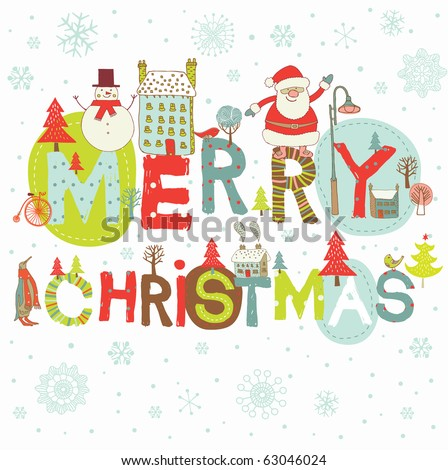 Merry Christmas, greeting card - stock photo