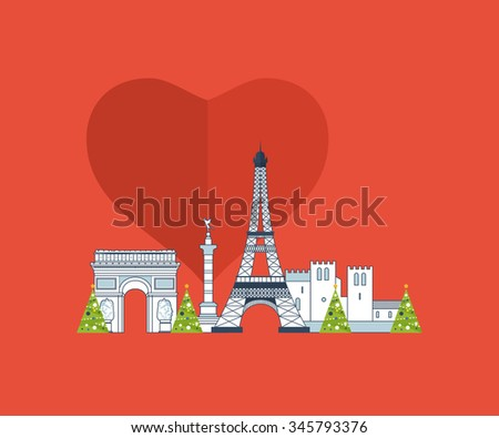 Merry Christmas greeting card design. French Landmarks. Travel to Europe. Eiffel tower, Notre Dame in Paris, France - stock photo