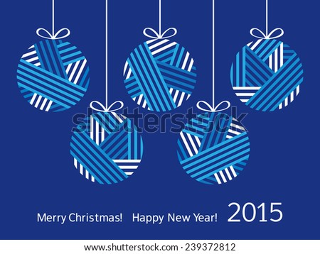 Merry Christmas. Happy New Year. Christmas decorations. Christmas tree balls. Christmas card. Congratulation. - stock photo