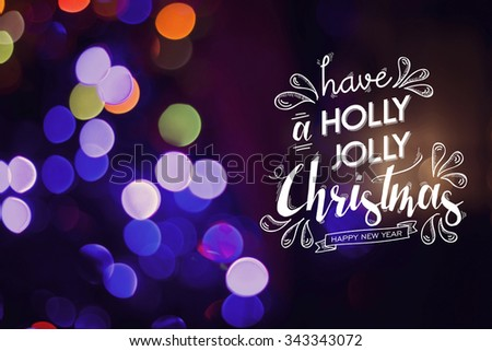 Merry christmas happy new year doodle elements with festive text on colorful light effect background. Ideal for holiday greeting card, xmas campaign or poster.  - stock photo
