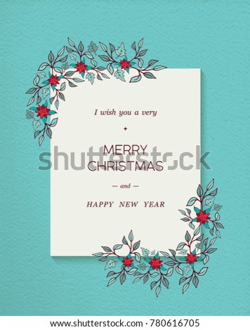 Merry Christmas Happy New Year Greeting Stock Illustration 780616705 ...