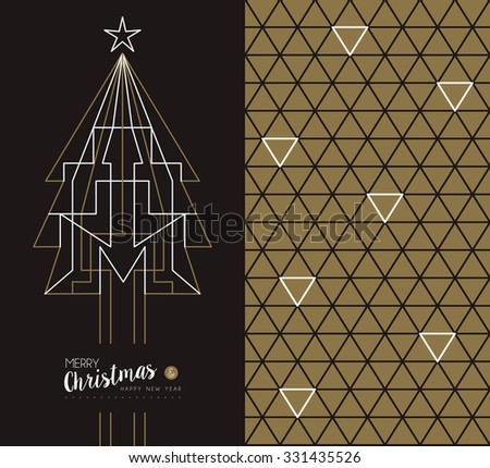 Merry christmas happy new year set: pine tree design in art deco outline style and linear geometry triangle seamless pattern. Ideal for xmas greeting card.  - stock photo