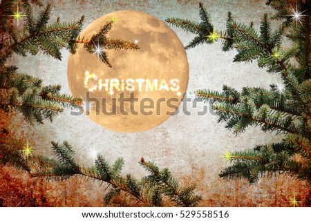 Merry Christmas. Holidays. Christmas tree. Magic night. Shining Moon. Moonlight. Festive fireworks, fairy stars and sparkles. Old paper texture background