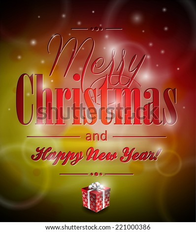 Merry Christmas illustration with typographic design and gift-box on shiny background. JPG version. - stock photo