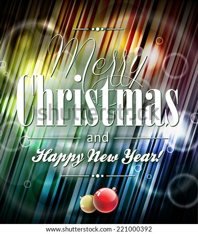 Merry Christmas illustration with typographic design on shiny background. JPG version. - stock photo