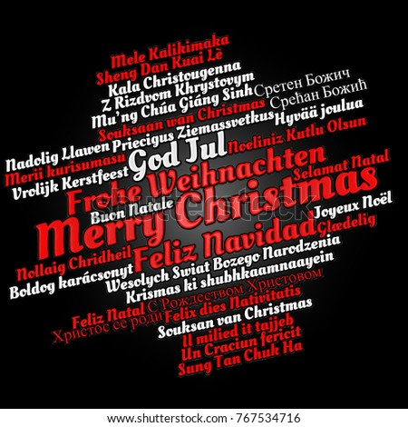 Merry Christmas in different languages in word cloud concept