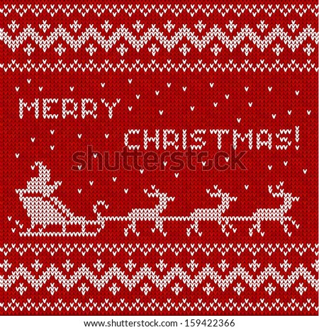 Merry Christmas knitted seamless background with Santa, deers and sign - stock photo