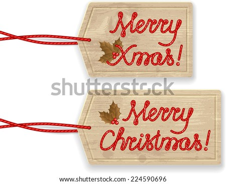 Merry Christmas Labels. Isolated. Handmade text. Raster Version. - stock photo