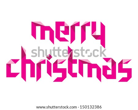 Merry Christmas lettering on white background - stock photo