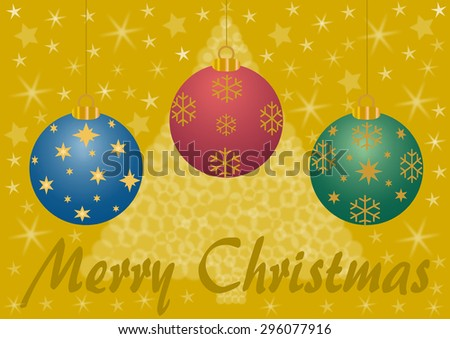 Merry Christmas lettering with 3 Christmas balls on gold with a blurred Christmas tree and stars in the background - stock photo