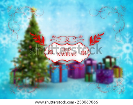 Merry christmas message against christmas tree with baubles - stock photo