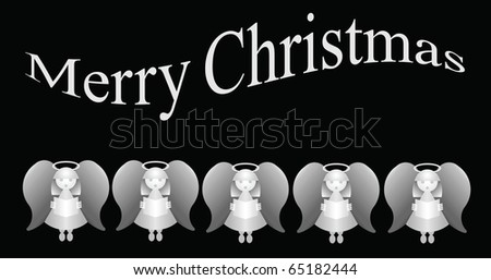 Merry Christmas message with five carol singing angels - stock photo