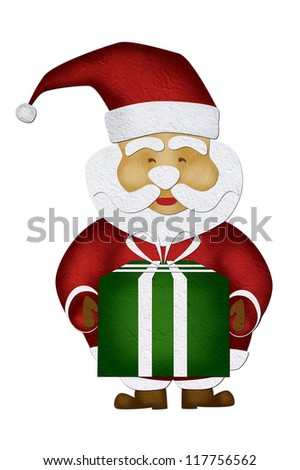Merry Christmas, Mulberry paper  Santa Claus, on white background.