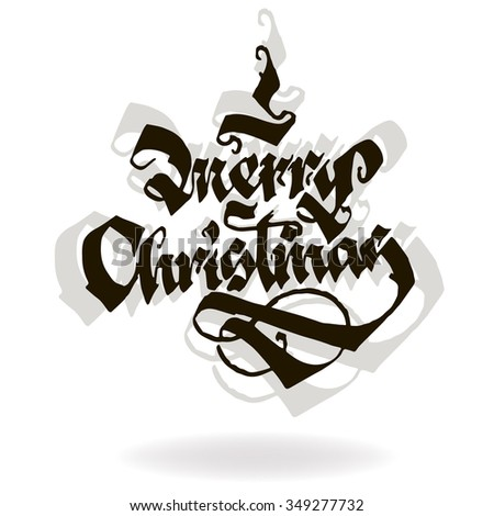 MERRY CHRISTMAS original custom hand lettering typography background for romantic photo cards/ party invitations for Christmas Holidays - stock photo