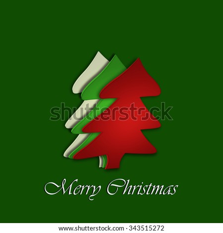 Merry Christmas paper tree design greeting card  - stock photo