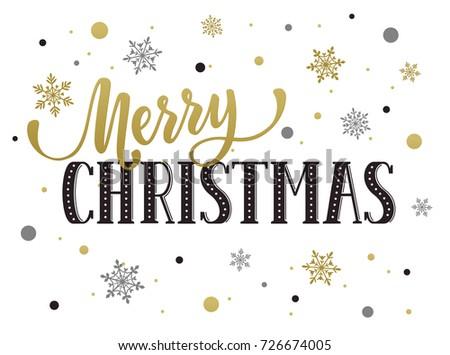 Merry Christmas Postcard Template Modern Lettering Stock ...