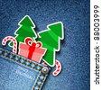 Merry Christmas. Realistic denim background. Jpeg version. - stock photo