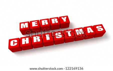 Merry Christmas red cubes o white background.