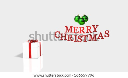 Merry Christmas Red Text with Green Christmas Balls and a With Gift Package Wrapped  by a Red Satin Ribbon - stock photo