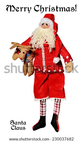Merry Christmas.Santa Claus  on a white background.Happy New Year!Doll. - stock photo