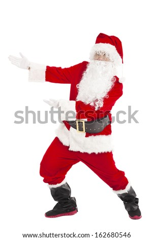 merry Christmas Santa Claus with showing gesture - stock photo
