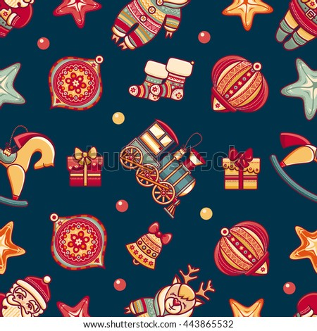 Merry Christmas. Seamless pattern. Abstract background. Holiday ornament. Season decoration. New year template. Festive texture. Winter decorate. Best for greeting card, invitation, wrapping paper.  - stock photo