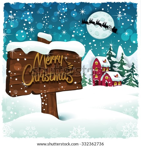 Merry Christmas sign on snowy mountain hut - stock photo