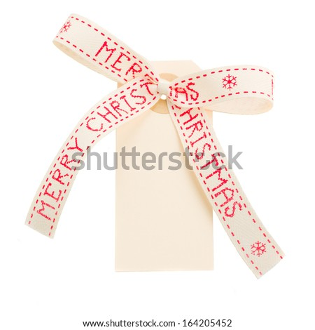 merry christmas tag isolated on white background - stock photo
