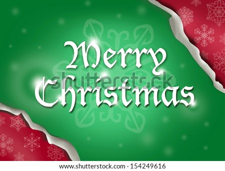 Merry Christmas text being unwrapped.  Christmas Theme - stock photo