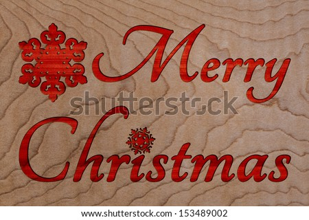 Merry Christmas Text Greeting Carved In Wood Texture Background, Handmade Sign For Vintage Holiday Card Or Invitation With Copy Space